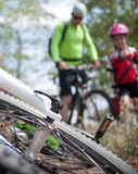 Family cycling outdoors Royalty Free Stock Image