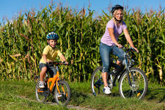Family is cycling in summer Stock Photos