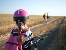 Family cycling Stock Photography