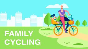 Family Cycling Outdoor Recreation Flat Text Banner stock illustration