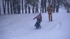 Family of dad, mom, little son and daughter riding on a sled in a pine forest in snowfall. Slow motion stock footage