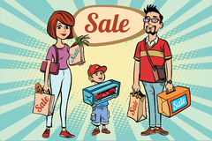 Family dad mom and son with shopping on sale. Comic book cartoon pop art retro color illustration drawing Stock Image