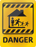 Family danger. Danger sign with a family problems theme vector draw Stock Image