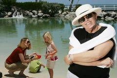 Family day at beach Stock Photo
