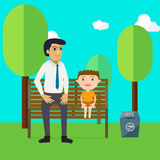 Family day with father and son cartoon characters relax in park. Stock Image