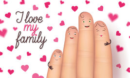 Family day finger flat card. Family day card. Realistic cute fingers close together. Special bond to cherish forever. Flat style vector illustration  on white Stock Images