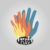 Family day material web logo. Family day. Hand print isolated on white background mother, father, baby finger. Abstract concept family holiday. Parents care Royalty Free Stock Images