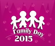 Family day 2015. Pink background with family icons and text for family day 2015 Stock Images