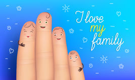 Family day poster. Realistic finger people. Close in hug, real love, genuine respect, and true security concept. Flat style vector illustration on blue Royalty Free Stock Image