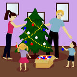 Family decorate Christmas tree. Vector illustration Royalty Free Stock Image
