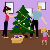 Family decorate Christmas tree Royalty Free Stock Photo