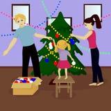 Family decorate Christmas tree Stock Photo