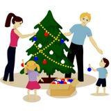 Family decorate Christmas tree Stock Photos