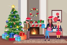 Family decorate pine tree merry christmas happy new year living room fireplace home interior decoration winter holiday. Concept flat horizontal vector vector illustration