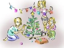 Family decorates the Christmas tree Royalty Free Stock Photo
