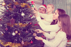 Family decorating Christmas tree at home. Young united family of four decorating Christmas tree together at home. Focus on woman Stock Photography
