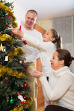 Family decorating Christmas tree Royalty Free Stock Photos