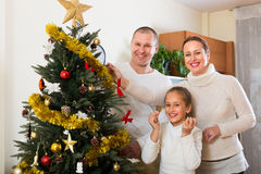 Family decorating Christmas tree Stock Photography