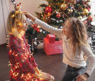 Family decoration christmas tree stock photography
