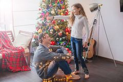 Family decoration christmas tree royalty free stock images