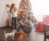 Family decoration christmas tree stock photos