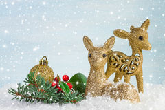 The family of deer with branch fir and holly leaves in the snow. Stock Photo