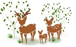 Family deer between trees. Illustration of deer family standing between trees vector illustration