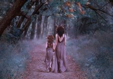 Family of deer are walking in the forest, fauns mother and daughter are walking along a mysterious path to the forest in stock photography