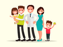 Family dentist. The dentist and his smiling patients . Vector il Royalty Free Stock Images