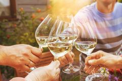 Family of different ages people cheerfully celebrate outdoors with glasses of white wine, proclaim toast People having. Dinner in a home garden in summer stock images