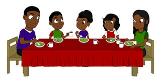Family dining cartoon Stock Photo