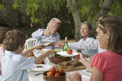 Family Dining In Garden Stock Photo