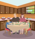 Family Dining In The Kitchen Stock Photography