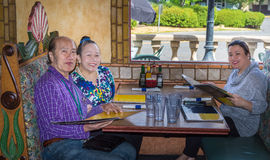 Family dining out stock photo