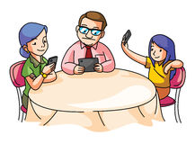 Family at the dining table with gadget Stock Image