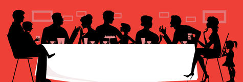 Family dinner. Silhouettes of a dinning family royalty free illustration