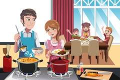 Family dinner. A vector illustration of family getting ready for dinner Stock Image