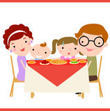 Family dinner. Illustration of Happy family in dinner Stock Photos