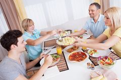 Family dinner being served Stock Images