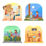 Family dinner cartoon collection. Vector set of dinners Stock Photo