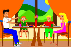 Family dinner. Happy family with two kids having their dinner together - no gradients used Stock Photo