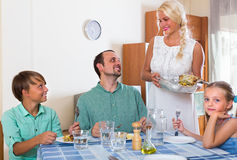 Family dinner at home Stock Photo
