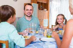 Family dinner at home Royalty Free Stock Images