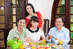 Family at the dinner table Royalty Free Stock Images