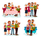 Family at dinner table, on sofa and with gifts. Family with children or kids near parents and grandparents. Father and mother, grandfather and grandmother with Royalty Free Stock Image
