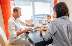 Family dinner time. In the cozy home stock photo