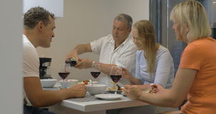 Family dinner with wine at home. Delicious dinner in family circle at home. Young and senior people having meal and toasting with red wine stock video