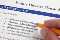 Family Disaster Plan Stock Image