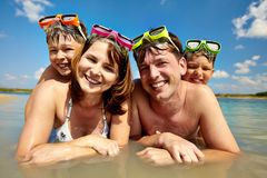 Family of divers Royalty Free Stock Photos
