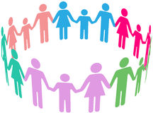 Family Diversity Social Community People. People group of diverse families join together in community circle holding hands Stock Photography